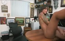 Latina hottie fucks in the office