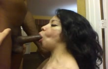 Amateur Latina sucking a big black dick