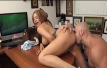Hispanic slut Samantha Bell fucked in office