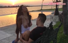 Silvia Santez sucks and fucks in public