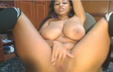 Latina BBW's inky masturbation session on webcam