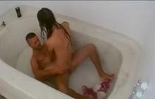 Bathroom sex with Latina amateur