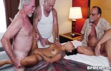 Hispanic GF Nikki Kay fucked by 3 old dudes