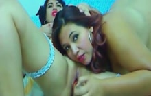 Two chubby lesbians have fun on webcam