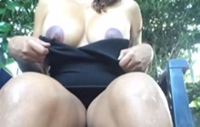 Latina flashing her big nipples and hairy pussy